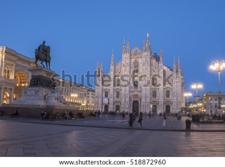 MILAN, ITALY - April 11, 2016: Piazza di Duomo di Milano (Dome of Milan), Milan, Italy. Metropolitan Cathedral-Basilica of the Nativity of Saint Mary at twilight time