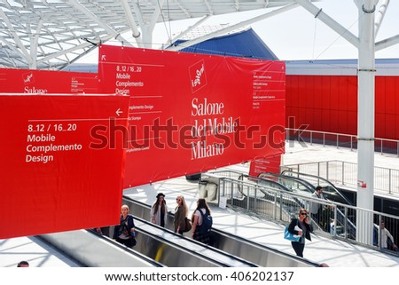 Milan, Italy, April 14, 2016: Salone del Mobile, Milan, 12 to 17 April 2016. Born in 1961 to promote Italian exports the furniture industry and its furnishings.