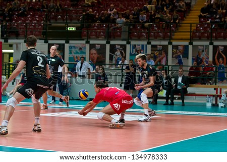 MILAN, ITALY - APRIL, 4: Santucci ( Red Corigliano) in A2M PLAY - OFF Vero Volley Monza -  Corigliano on April ,4 2013 in Milan, Italy
