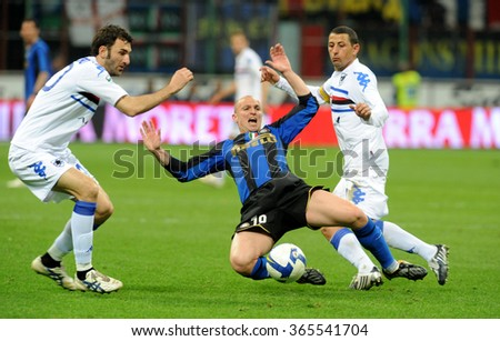 MILAN, ITALY-APRIL 23, 2009: soccer player Esteban Cambiasso in action during the italian serie A soccer match FC Internazionale vs Sampdoria at the san siro stadium,  in Milan