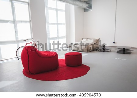 MILAN, ITALY - APRIL 13: Sofas on display at Fuorisalone, set of events distributed in different areas of the town during Milan Design Week on APRIL 13, 2016 in Milan. - stock photo