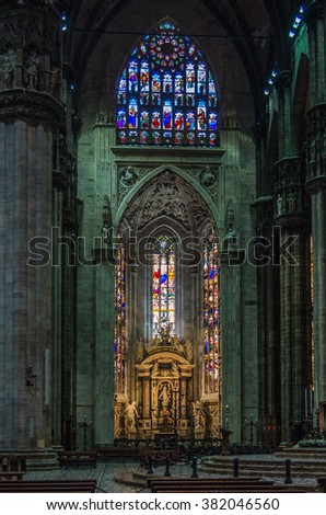 Milan Italy 24 April 2014 , Stained Glass windows adorn The Duomo di Milano which is a Gothic cathedral  dedicated to St Mary and one the largest churches in the world. - stock photo
