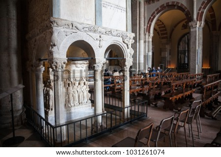 Milan, Italy - 2017, April 9 : The interior of the famous romanesque basilica of St. Ambrose or Sant'Ambrogio in Milan in Lombardy