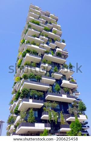 MILAN, ITALY - APRIL 26, 2014: The new Bosco Verticale building in Milan, Italy. - stock photo
