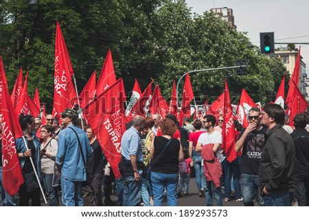 MILAN, ITALY - APRIL 25: Thousands of people take part in the Liberation Day parade to remember the end of Mussolini's regime and Nazi occupation in 1945 on APRIL 25, 2014 in Milan.