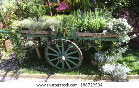 MILAN, ITALY-APRIL 09, 2014: wooden cart with plants on display in the garden shop, Vivaio Riva, in Milan.