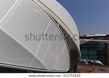 Milan, Italy, 12 August 2015: Detail of the Germany pavilion at the exhibition Expo 2015 Italy.
