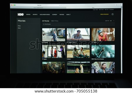 Milan, Italy - August 10, 2017: hbo.com website homepage. It is an American premium cable and satellite television network. hbo logo visible.