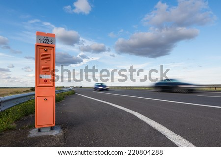 MILAN, ITALY - AUGUST 17, 2014: Help assistance along A1 freeway in Milan. - stock photo