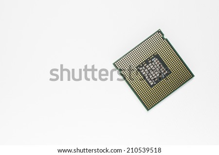 Milan, Italy - August 12, 2014: Intel Core 2 Quad cpu back, close up on a white background