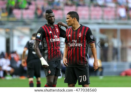 Milan, Italy, august 2016  Italy league Serie A 1day: Carlos Bacca and M'Baye Niang during the football match between AC MILAN vs TORINO at San Siro stadium on august 21 2016