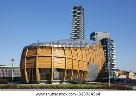 MILAN , ITALY - AUGUST 30, 2015 : New business district Garibaldi. For expo 2015 all this important neighborhood is renewed and attended by thousands of workers and tourists - stock photo