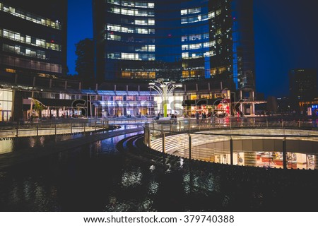 MILAN, ITALY - AUGUST 28,2015: Night view of Gae Aulenti's square in Milan new Porta Nuova District.