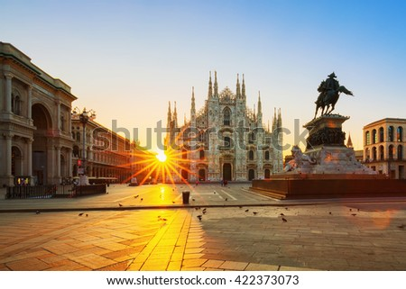 MILAN ITALY-AUGUST-30-2015:The Duomo cathedral at sunrise.The Gothic cathedral took nearly six centuries to complete. It is the fifth largest cathedral in the world and the largest in italy