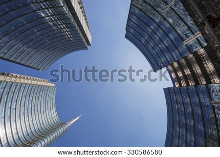 MILAN, ITALY-AUGUST 30, 2015: Unicredit skyscraper tower and Piazza Gae Aulenti, in Milan. - stock photo