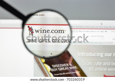Milan, Italy - August 10, 2017: Wine.com website homepage. It is a San Francisco based online wine retailer that offers a selection of wines. wine.com logo visible.