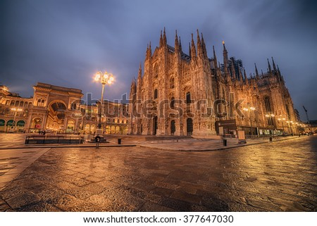 Milan, Italy:  Cathedral, Duomo di Milano  in the sunrise. Piazza del Duomo, Cathedral Square. - stock photo