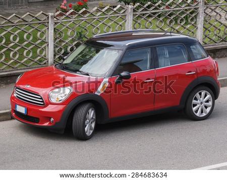 MILAN, ITALY - CIRCA MAY 2015: red Mini Minor car (new model, produced from 2013 onwards)  - stock photo