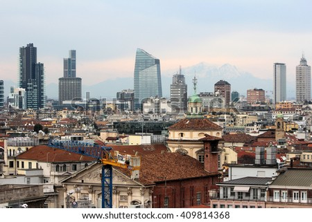 MILAN, ITALY -  CIRCA NOVEMBER 2015: a panoramic view of the new downtown of the city.
