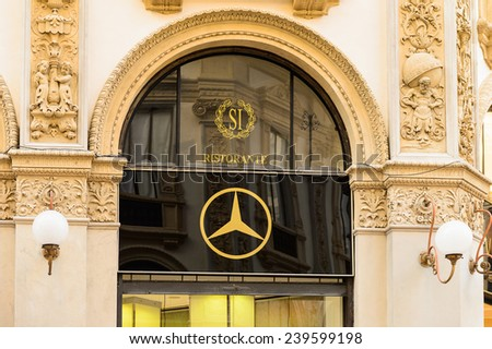 MILAN, ITALY - DEC 23, 2014: Mersedes Benz in Galleria Vittorio Emanuele II, one of the world's oldest shopping malls. The gallery is built between 1865 and 1877 by Giuseppe Mengoni