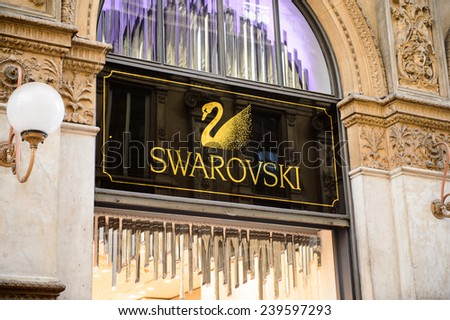 MILAN, ITALY - DEC 23, 2014: Swarovski boutique in Galleria Vittorio Emanuele II, one of the world's oldest shopping malls. The gallery is built between 1865 and 1877 by Giuseppe Mengoni