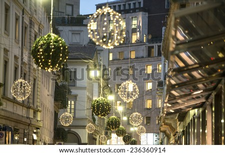 MILAN, ITALY-DECEMBER 02, 2014: Christmas lights in via Montenapoleone, in the downtown fashion district, in Milan. - stock photo