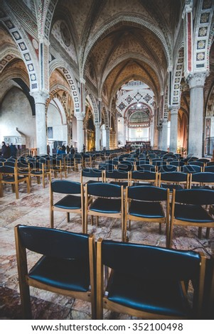 MILAN,ITALY - DECEMBER 10,2015: Church Holy Mary of Grace ( Santa Maria delle Grazie ) , Milan.In this cathedral is place the famous Da Vinci masterpiece, The Last Dinner of Jesus.The nave. - stock photo