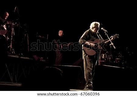 MILAN, ITALY - DECEMBER 10: concert by Italian singer Francesco Guccini held in Milan on 10 December 2010. The concert was held at Mediolanum Forum of Assago