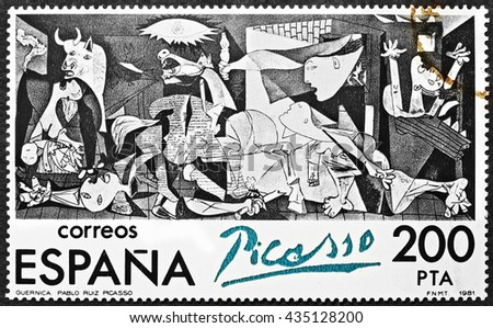 Milan, Italy - December 11, 2013: famous painting Guernica by Pablo Picasso reproduced on a spanish postage stamp - stock photo
