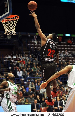 MILAN, ITALY - DECEMBER 7:Keith Langford in action during  the Euroleague Basketball between Armani Jeans Milano and Zalgiris Kaunas at the DutchForum in Milan,  Dec 7, 2012 in Milan, Italy.