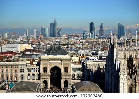 MILAN,ITALY-DECEMBER 5: panoramic view of Milan December 5, 2013 in Milan Italy  - stock photo