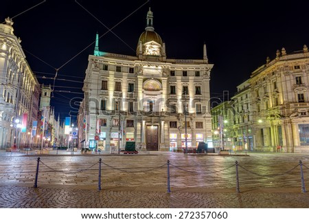 MILAN, ITALY - DECEMBER 31: Piazza Cordusio on December 31, 2014 in Milan, Italy.  A square in central Milan is famous for its 19th century Neoclassical, eclectic and Art Nouveau buildings. - stock photo