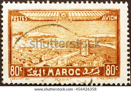 Milan, Italy - December 16, 2014: Rabat on old moroccan postage stamp of 1931