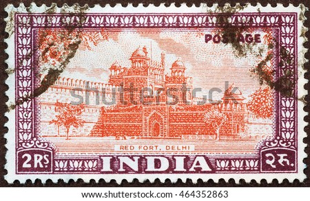 Milan, Italy - December 16, 2014: Red Fort in Delhi on old indian postage stamp