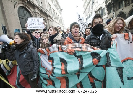 MILAN, ITALY - DECEMBER 14: student demonstration held in Milan December 14, 2010. Students protest against Berlusconi's government and against the new laws on school education minister Gelmini.