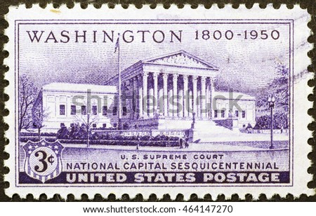 MIlan. Italy - December 16, 2014: Supreme court building on US postage stamp of 1950