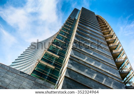 MILAN,ITALY - DECEMBER 17,2015: Unicredit bank skyscraper, piazza Gae Aulenti, Porta Garibaldi district, Milan. Famous skyscraper of the new Milan skyline.