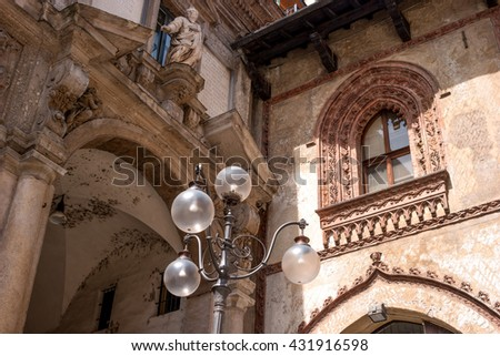 Milan, Italy. Detail of buildings in the Piazza dei Mercanti. This central area of the medieval city of Milan.
