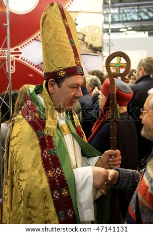MILAN, ITALY - FEBRUARY 20: Actor wearing religious costume during BIT, International Tourism Exchange Exhibition February 20, 2010 in Milan, Italy.