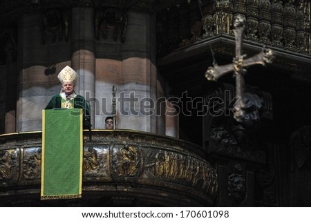 MILAN, ITALY - FEBRUARY 12: Cardinal Angelo Scola celebrates the Mass inside the Duomo cathedral of Milan February, 12, 2013.  - stock photo
