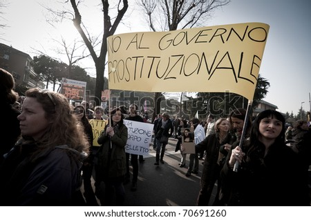 MILAN, ITALY - FEBRUARY 06: demonstration held in Arcore February 06, 2011. Popolo Viola, italian organization against berlusconi government, oganized protest in Arcore to ask for his resignation.