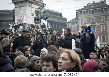 MILAN, ITALY - FEBRUARY 13: demonstration held in Milan February 13, 2011. Women protest against berlusconi's goverment to safeguard their rights humiliated by the Prime Minister