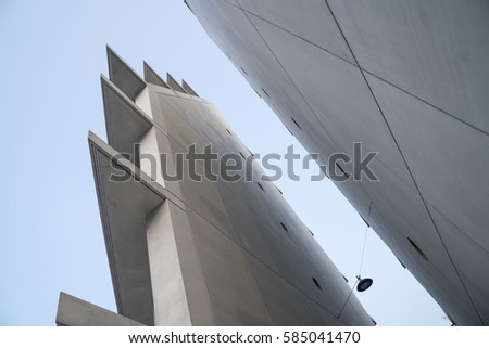 Milan, Italy - February 18, 2017: Detail of the new concrete building of the Feltrinelli Foundation in Porta Volta district, Milan, Italy.