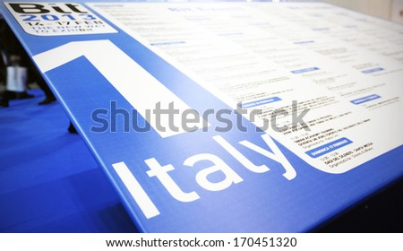 MILAN, ITALY - FEBRUARY 15, 2013: Entrance of the Italy tourism pavillion at BIT, International Tourism Exchange Exhibition.