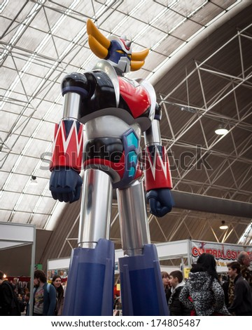 MILAN, ITALY - FEBRUARY 2: Goldrake's statue at Festival del Fumetto, convention dedicated to comics and cosplay world on FEBRUARY 2, 2014 in Milan.