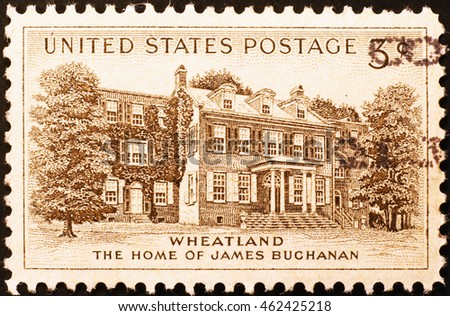 Milan, Italy - February 1, 2014: Home of James Buchanan on vintage american postage stamp