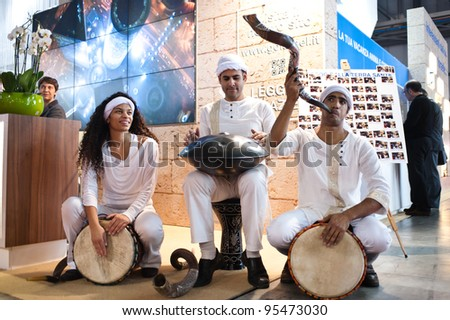 MILAN, ITALY - FEBRUARY 17: Israeli performers at BIT International Tourism Exchange on february 17, 2012 in Milan, Italy. - stock photo