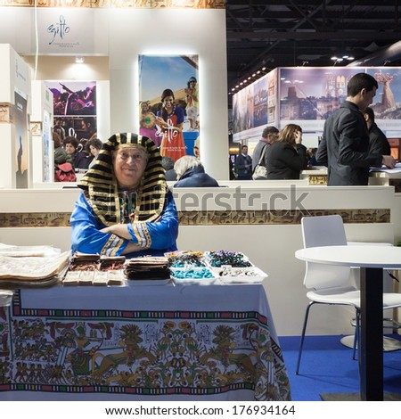 MILAN, ITALY - FEBRUARY 13: Man dressed up as a Pharaoh at Bit, international tourism exchange reference point for the travel industry on FEBRUARY 13, 2014 in Milan.