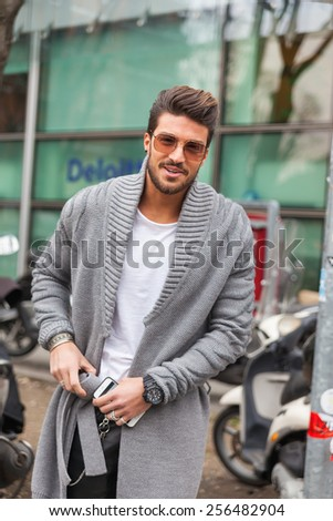 Milan, Italy - February 27, 2015: Mariano Di Vaio attending Emporio Armani fashion show during Milan Fashion week Womenswear fall/winter 2015/16