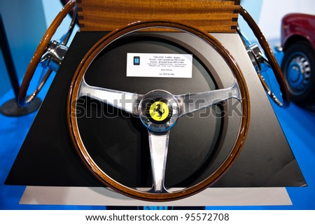 MILAN, ITALY - FEBRUARY 19: Nardi steer wheeling at Milano AutoClassica, the classical and sporting car show in Milan on February 19, 2012 - stock photo